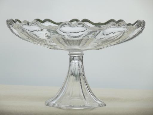 Fantastic large glass flower compote bowl, pedestal fruit bowl or salad bowl FE01