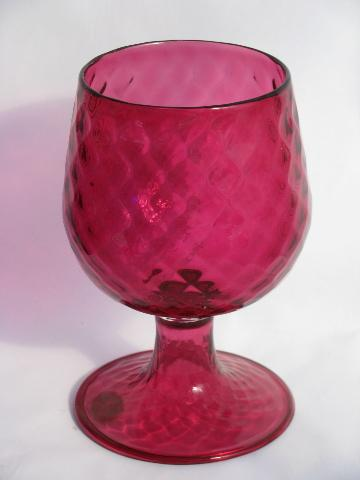 Large Hand Blown Venetian Glass Vase Cranberry Pink Swirl Old