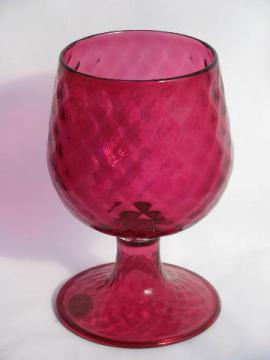 large hand-blown Venetian glass vase, cranberry pink swirl, old Murano label
