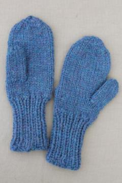 large hand-knitted mittens, primitive blue knit mittens to wear or display