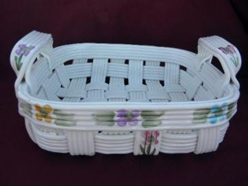 large hand-painted ceramic basket, vintage Italian pottery w/ label