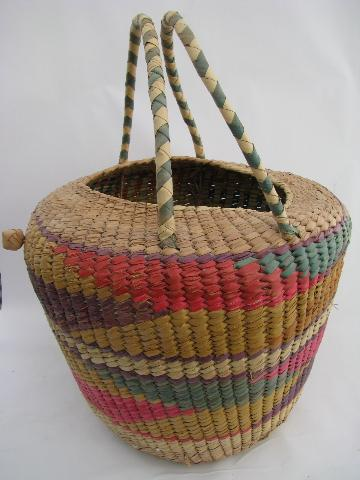 large knitting / needlework basket, vintage Mexico souvenir