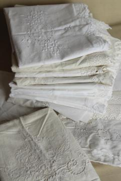 large lot all white vintage embroidered cotton pillowcases w/ knitted lace & crochet