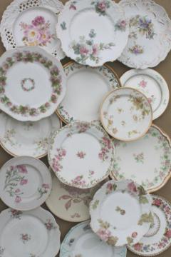 large lot mismatched flowered china plates, antique vintage floral pattern dishes