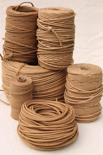 Large Lot Natural Brown Paper Twist Cord For Piping Or Basket Making /  Wicker Furniture
