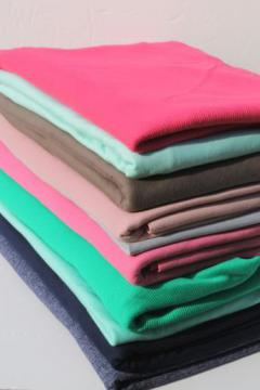 large lot of vintage fabric, cotton knits & poly blend t-shirt knit jersey fabrics