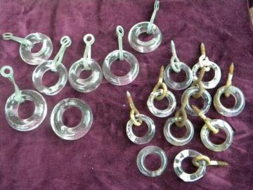 large lot of vintage lamp work glass ring hardware pulls