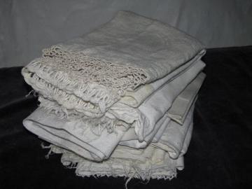 large lot vintage antique whitework linen damask & cotton towels, crochet & tatted lace