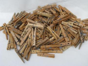 large lot vintage wooden clothespins, primitive old hard wood