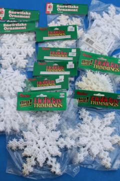 large lot white Christmas glitter plastic snowflakes, retro ornaments sealed in pkgs