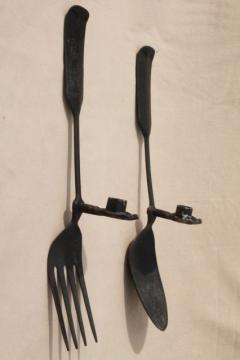 large metal spoon & fork wall art candle sconces, primitive tavern sign / country kitchen vintage