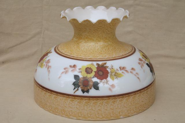 Large Milk Gl Lamp Shade W Flowers