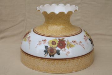 large milk glass lamp shade w/ flowers in warm gold colors, vintage replacement light shade