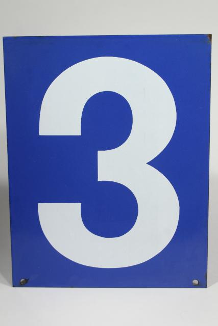 large number sign, vintage industrial blue enamel metal gas station numbers, #3 or #4
