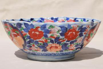 large old Japanese porcelain bowl, hand painted red and blue Imari design china dish