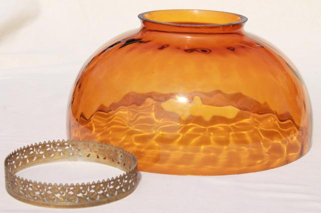 large old amber glass lampshade, vintage hand-blown glass shade for hanging light