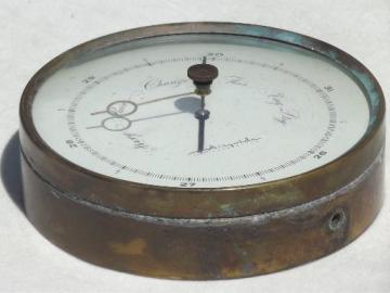 large old brass Airguide barometer, vintage barometer looks rough but works