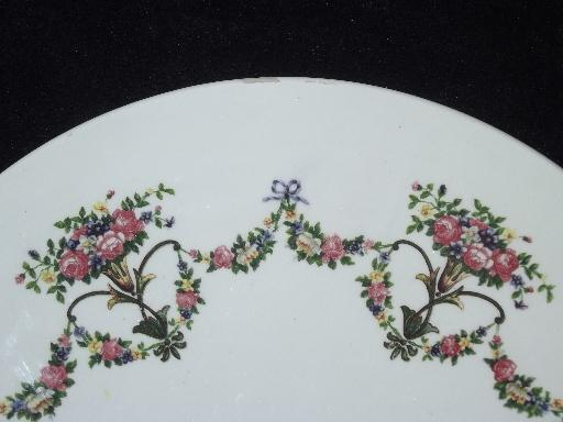 large old floral china trivet or plateau plate, Germany, stamped 1913