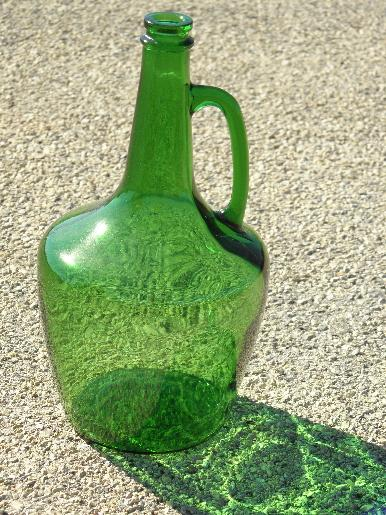 Large old green glass wine bottle w jug handle for Green wine bottles