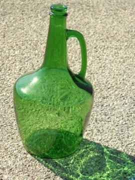 large old green glass wine bottle w/ jug handle