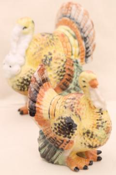 large old hand painted china turkeys, vintage Thanksgiving table salt & pepper shakers