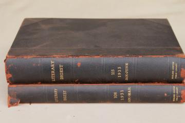 large old leather bound books, antique 1930s vintage Literary Digest magazines