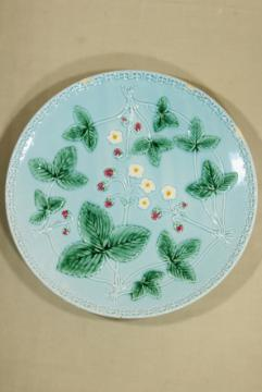 large old majolica pottery plate, alpine wild strawberries, 1940s vintage Western Germany