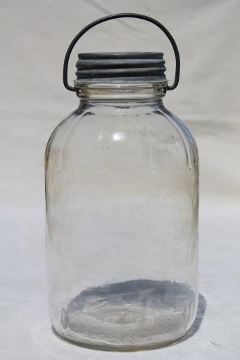 Large Old Pickle Jars W Wire Bail Handles Vintage