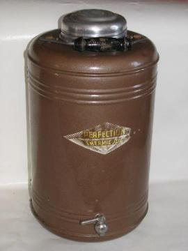 large old picnic / camping thermos bottle, vintage Perfection Thermic Jug w/ wood handle