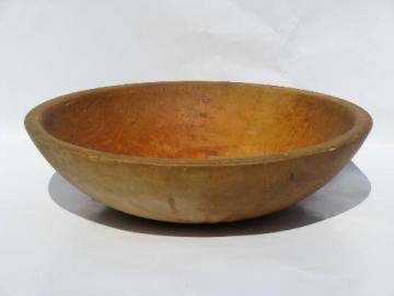 large old primitive wood bowl, vintage Parrish woodenware