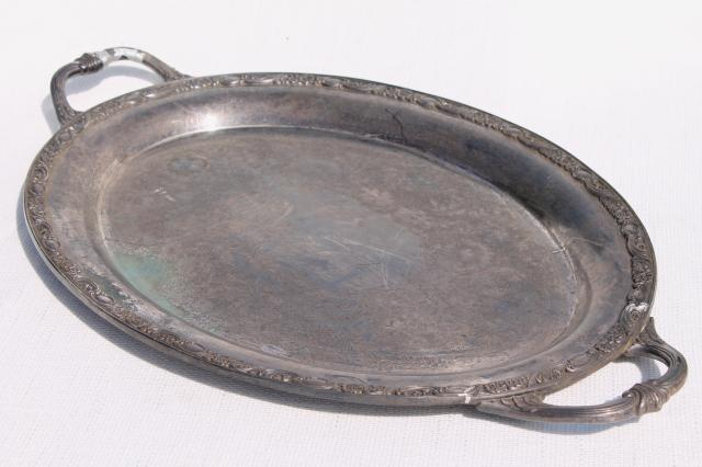Large Old Silver Plate Waiter S Tray Vintage Serving Tray