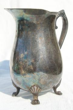 large old tarnished silver pitcher, vintage silverplated pitcher w/ ice lip