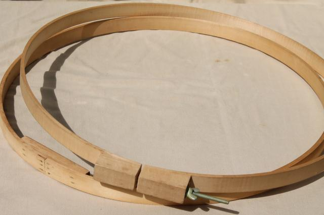 large old wood quilting hoop or embroidery frame, lap hoop for ...