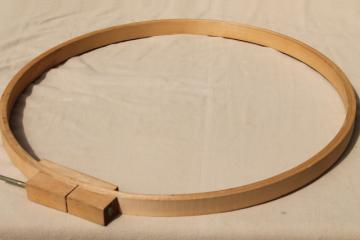 large old wood quilting hoop or embroidery frame, lap hoop for needlework