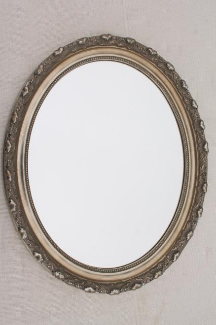 large oval mirror w vintage style distressed antique silvery bronze frame