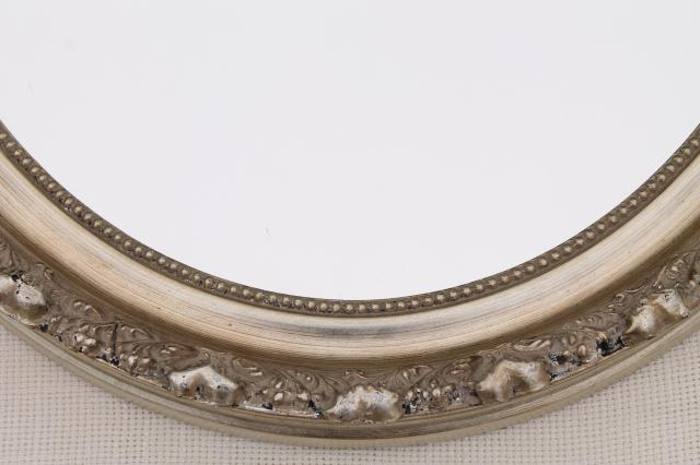 large oval mirror w/ vintage style distressed antique silvery bronze frame