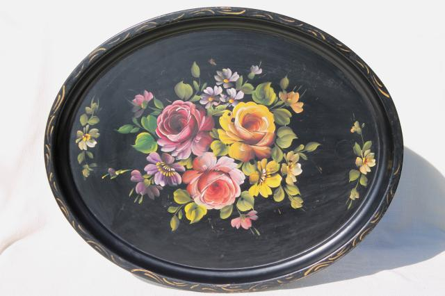 Large Oval Tole Tray Hand Painted Vintage Metal Serving