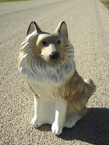 Large Painted Plaster Fireplace Dog Vintage Chalkware