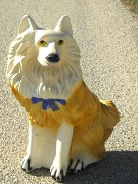 large painted plaster fireplace dog, vintage chalkware collie coin bank