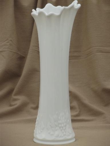 Large Paneled Grape Swung Shape Milk Glass Vase Vintage Westmoreland