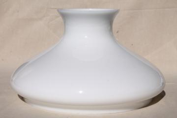 large plain white milk glass shade for hanging light or table lamp, vintage replacement lampshade