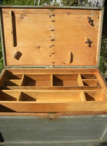 large primitive old carpenter's chest or tool box w/copper fittings