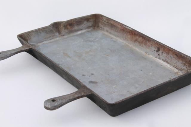 Large Rectangular Griddle Skillet W Two Handles Heavy