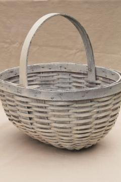 large round bottom market basket or gathering basket w/ weathered old white paint