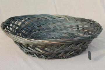 large round bowl basket w/ primitive green color, vintage wicker sewing basket