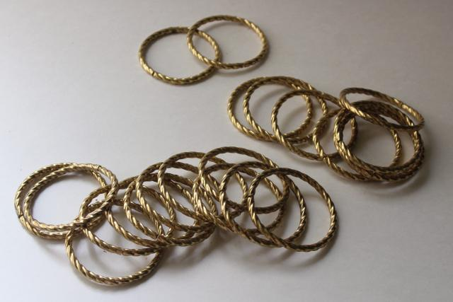 large round brass plated curtain rings, vintage rope twisted metal hoops