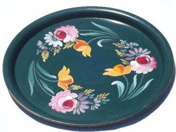large round hand-painted tole tray w/ bright flowers, vintage Ransburg