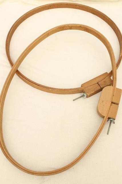 Large Round Oval Wood Hoop Needlework Frames Vintage Embroidery