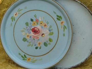 large round tole trays, shabby chippy floral amd worn old blue paint