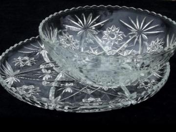 large salad bowl and sandwich / serving plate, vintage AH prescut glass